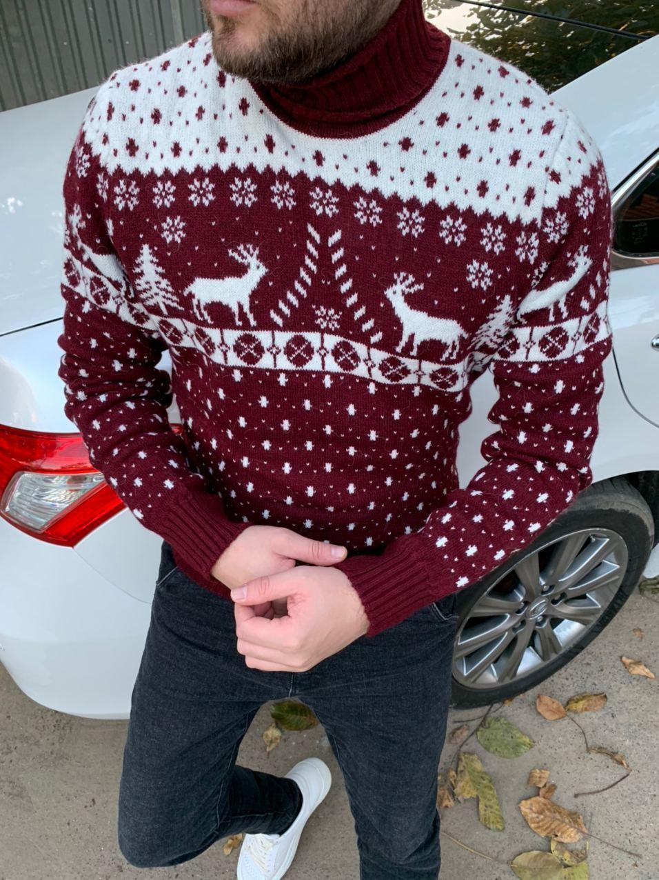 😜 Светр Чоловічий теплий светр з оленями під горло червоний