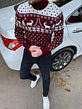 😜 Светр Чоловічий теплий светр з оленями під горло червоний, фото 3