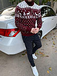 😜 Светр Чоловічий теплий светр з оленями під горло червоний, фото 2
