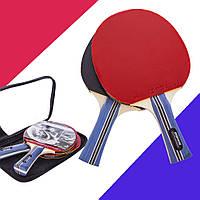 Набір ракеток для настільного тенісу (пінг понгу) 2 ракетки + чохол ⭐⭐⭐⭐⭐