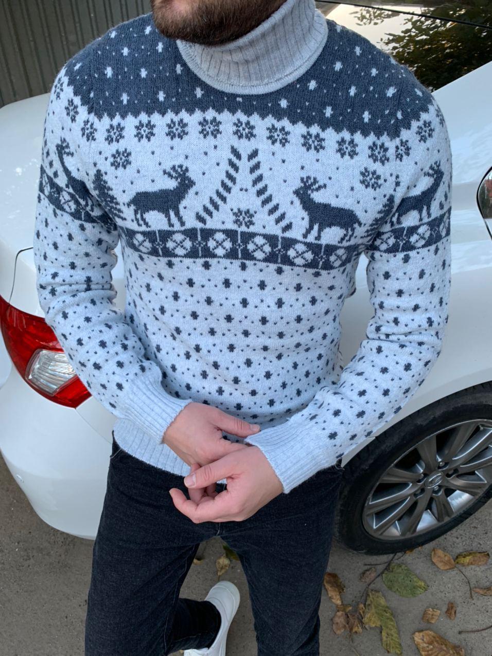 😜 Свитер - Мужской теплый свитер с оленями под горло белый