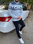 😜 Свитер - Мужской теплый свитер с оленями под горло белый, фото 2
