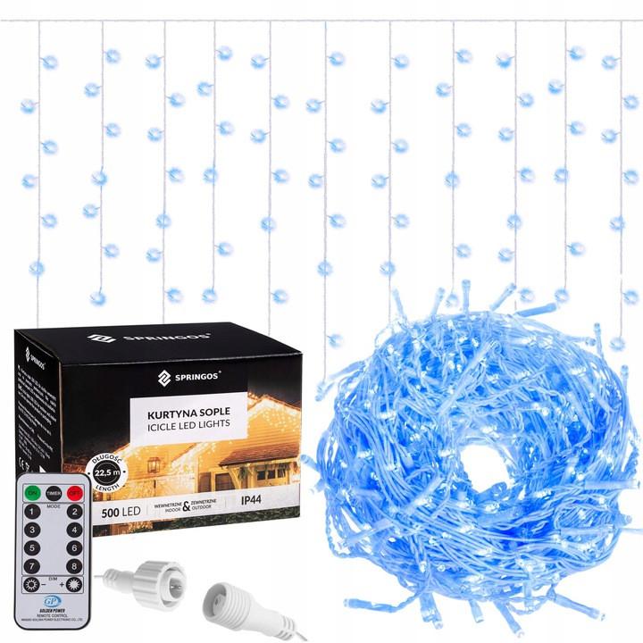 Новогодняя гирлянда Бахрома 500 LED, Синий цвет, 22,5 м + пульт