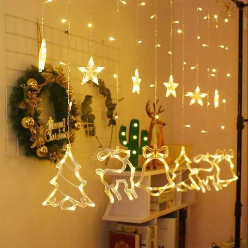 Гирлянда штора с украшениями и звездами, 138 LED, 4,8 м