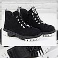 Модные женские ботинки зимние на платформе замшевые черные с мехом на шнуровке Loretta Размер 36 - 41, фото 6