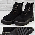 Модные женские ботинки зимние на платформе замшевые черные с мехом на шнуровке Loretta Размер 36 - 41, фото 2