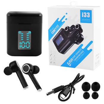 Беспроводные bluetooth-наушники вакуумные для телефона i33 5.0 с кейсом, индикация заряда, black