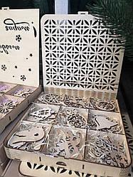 Елочные игрушки деревянные игрушки Новогодние на елку 27 шт НАБОР