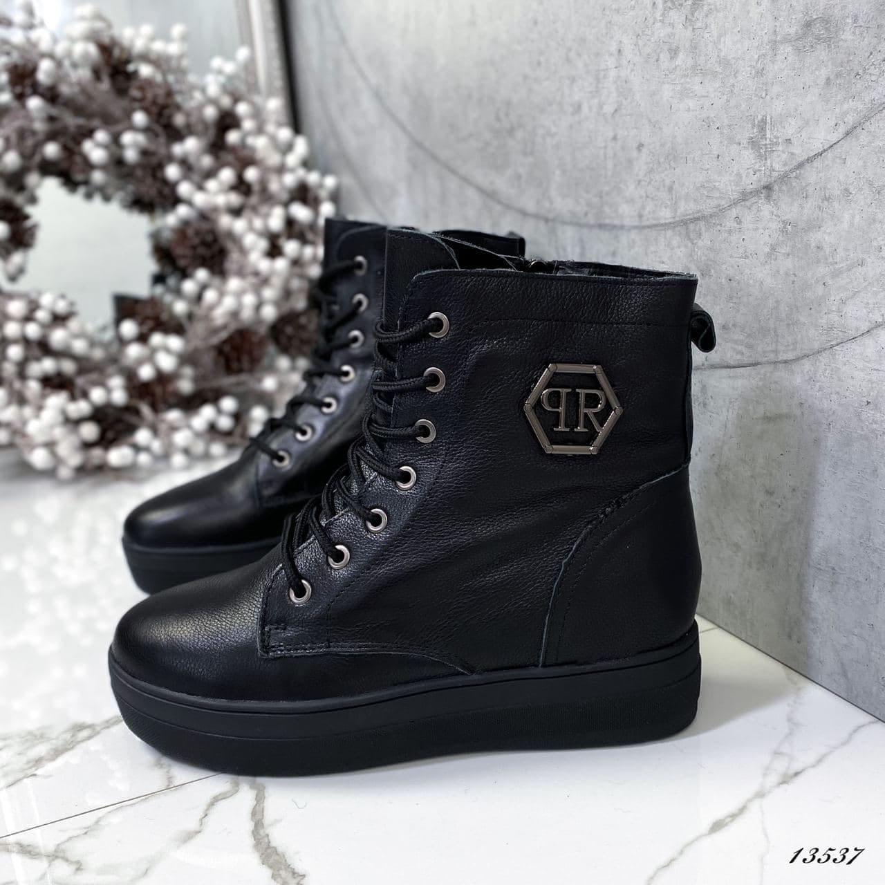 Женские ботинки кожаные Зима 13537