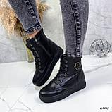 Женские ботинки кожаные Зима 13537, фото 4