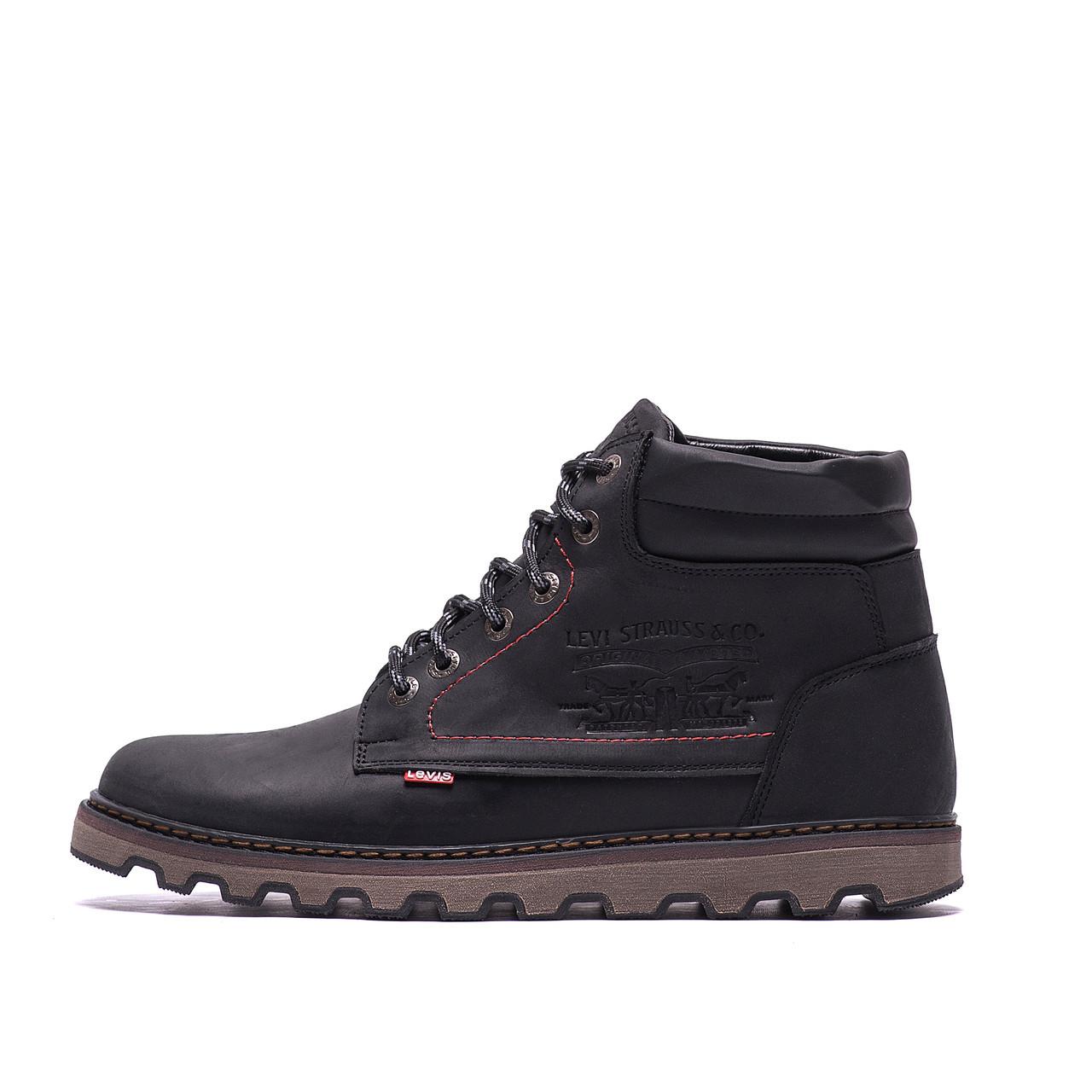 Мужские зимние кожаные ботинки Levis Expensive Black р. 40 41 43