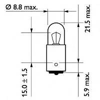 Автолампа T4W  4W Philips 13929CP Vision