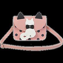 Сумка на плечо маленькая PUSSY CAT,19x15x6,5 см, розовая (декор: кот с подвижным хвостом)