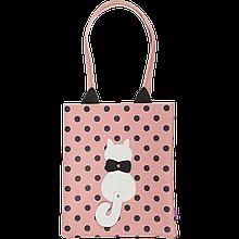 Сумка на плечо PUSSY CAT, 29x35x3 см, розовая (декор: кот с подвижным хвостом)