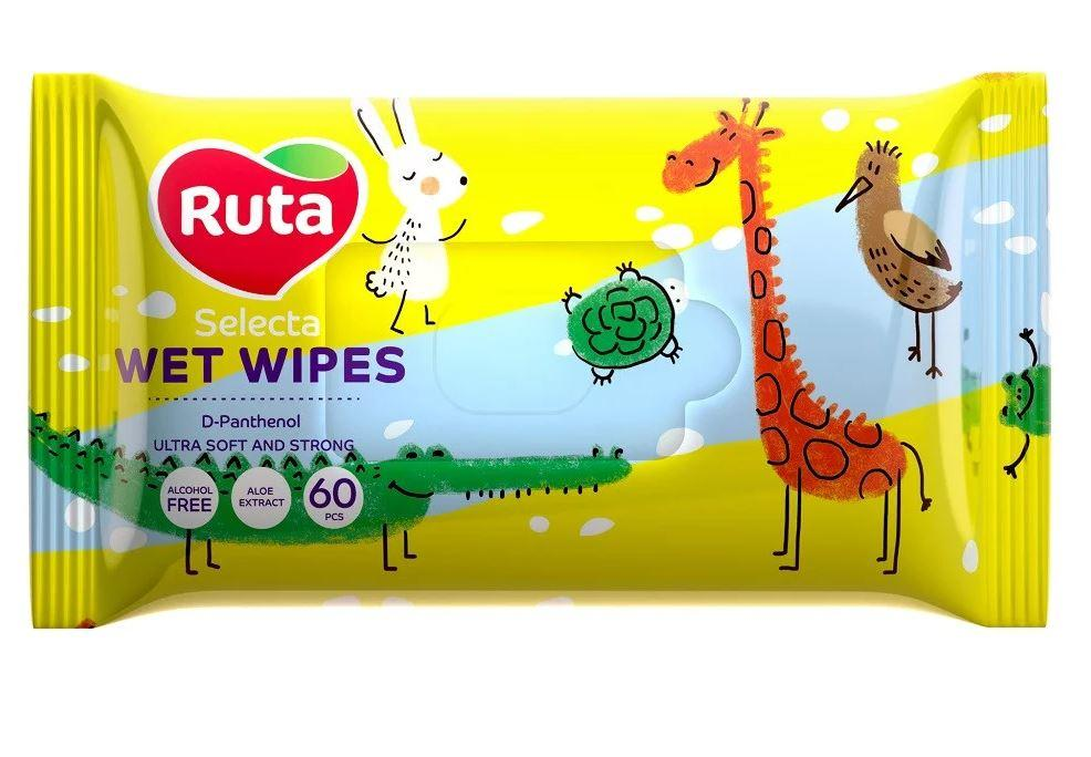 """Серветки вологі """"Ruta Selecta"""" веселі звірятка 60 шт"""