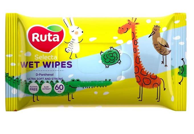 """Серветки вологі """"Ruta Selecta"""" веселі звірятка 60 шт, фото 2"""
