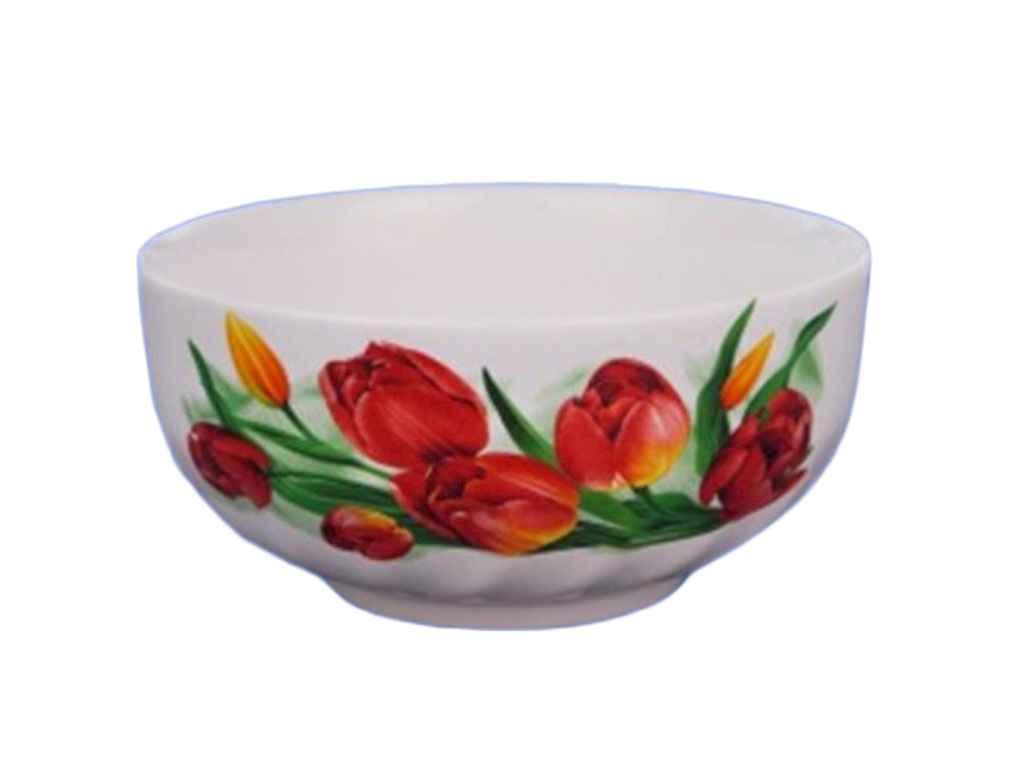 Салатник 1,100л білий з деколью Червоні тюльпани ТМАВАНГАРД