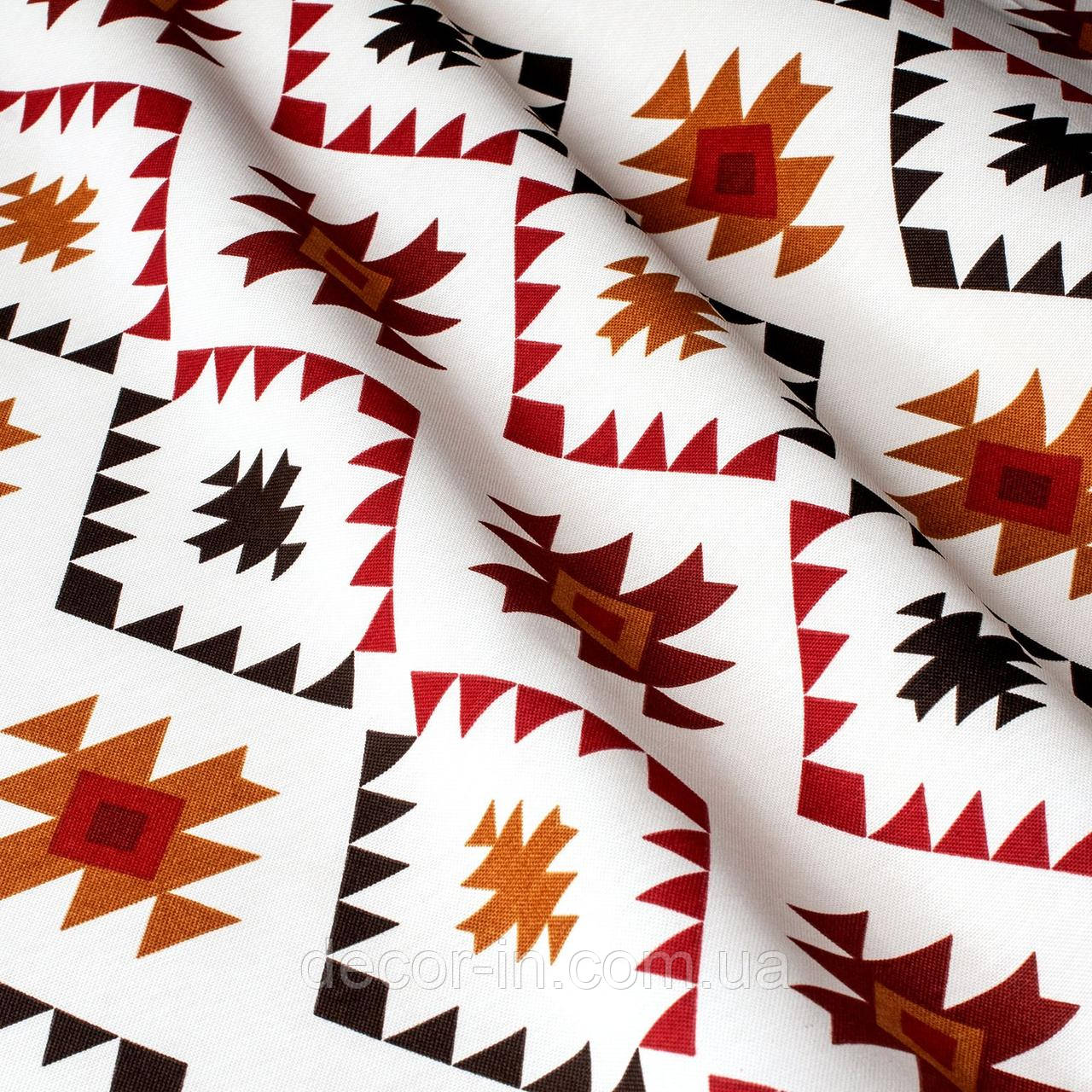 Декоративна тканина в дрібні бордові чорні ромби на білому Туреччина 87915v2