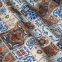 Декоративна тканина пэтчворк синій і коричневий Туреччина 87917v1, фото 1