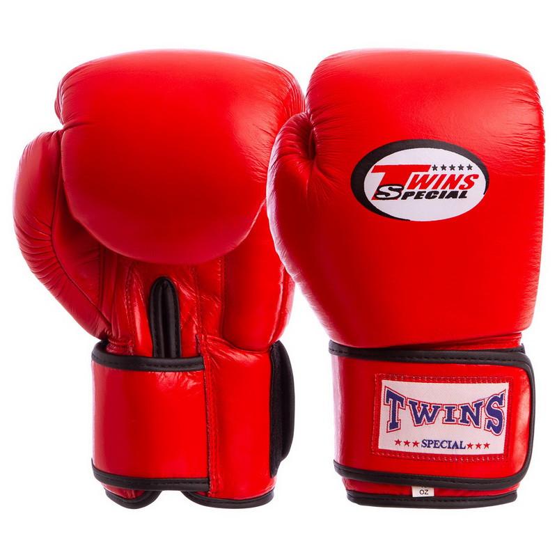 Перчатки боксерские TWINS кожаные на липучке красные VL-6631, 12 унций