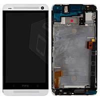 Дисплейный модуль (дисплей + сенсор) для HTC One Dual Sim 802w, с передней панелью, белый, оригинал