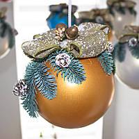 Новогодний декор, шар золотой большой