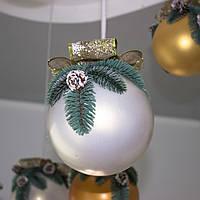 Новогодний декор, белый шар большого размера
