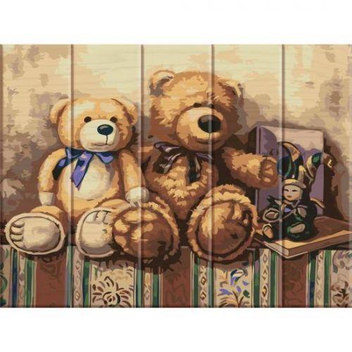"""Картина по номерам на дереве """"Медвежата"""" ASW020"""