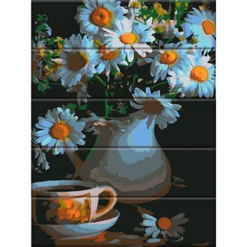 """Картина по номерам на дереве """"Ромашки в вазе"""" ASW047"""