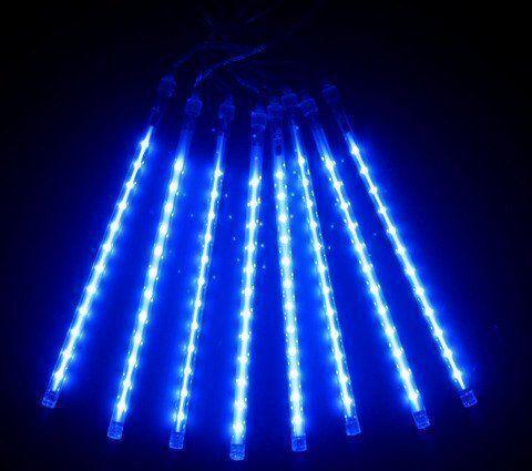 Уличная гирлянда падающие капли  синяя 8 метеоров 220V IP44 Код.59782