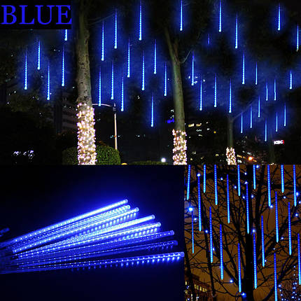 Уличная гирлянда падающие капли  синяя 8 метеоров 220V IP44 Код.59782, фото 2