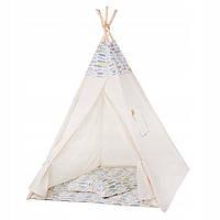 Детская палатка домик (вигвам) Springos Tipi XXL TIP14 White/Mix. Палатка для детей игровая