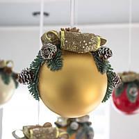 """Новорічний декор """"Шар середній світло-золотий"""""""