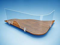 Защитный экран для кассы 1500х680мм с окошком на зажимных крепежах, фото 1