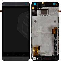 Дисплейный модуль (дисплей + сенсор) для HTC One mini 601n, с передней панелью, черный, оригинал