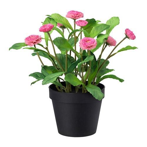 ИКЕА (IKEA) ФЕЙКА, 103.953.36, Искусственное растение в горшке, д/дома/улицы, Розовая маргаритка, 12 см - ТОП