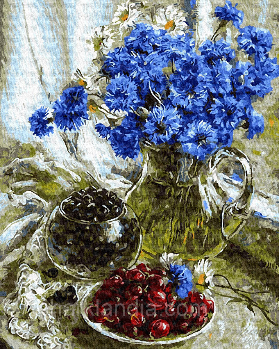 Картина по Номерам Голубые васильки 40х50см RainbowArt