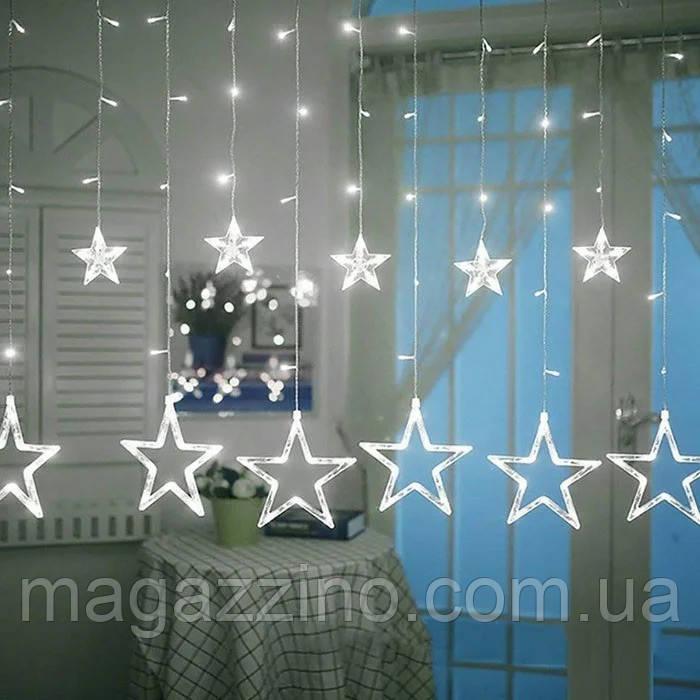 Гирлянда штора светодиодная Звезды, Белая, прозрачный провод, 3х0,7м.