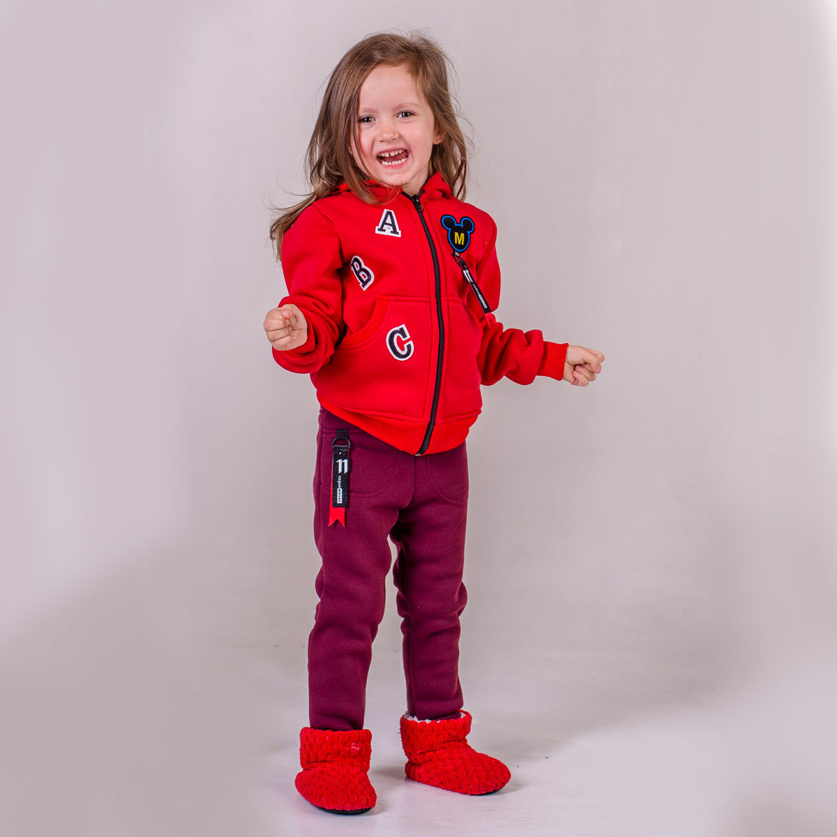 Кофта детская утепленная р.104,110,116,122 SmileTime Minny, красная