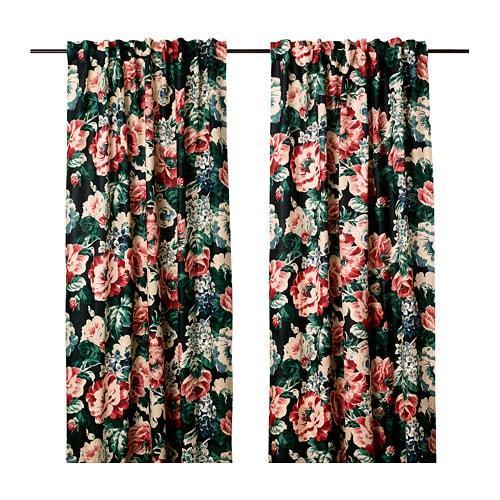 ИКЕА (IKEA) LEIKNY, 104.288.17, Гардины, 1 пара, черный, разноцветный, 145x300 см - ТОП ПРОДАЖ