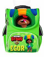 Ранец школьный каркасный рюкзак детский ортопедический Бравл Старс Леон Leon (именной)