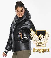 Воздуховик-пуховик женский зимний Braggart Angel's Fluff | Куртка черная на зиму женская с капюшоном модель
