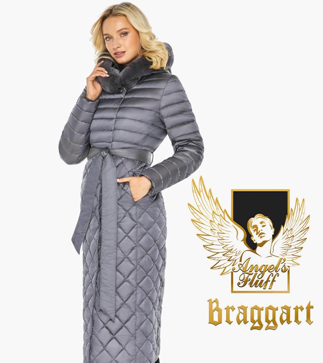 Воздуховик-пуховик жіночий зимовий Braggart angel's Fluff | Перлинно-сіра куртка жіноча довга зимова 4XS-XL