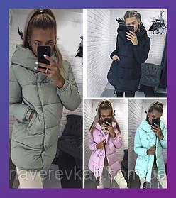 Женская зимняя куртка зефирка мята, розовый, олива, чёрный , хаки, бордо, серый, бежевый 42 44 46 с капюшоном