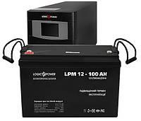 ИБП Logicpower LPM-PSW-500VA + АКБ LogicPower LPM12-100 12V 100Ah, фото 1