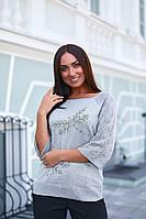 Женский свитер реглан со стрекозой больших размеров, фото 1