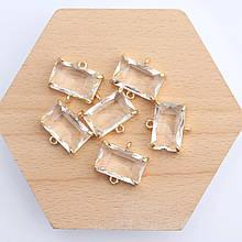 Коннектор для украшений, прямоугольник 1,3см*1,4см, контур - метал. цвет прозрачный