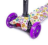 Детский самокат MAXI Violet Flowers Светящиеся колеса Гарантия качества Быстрая доставка, фото 3