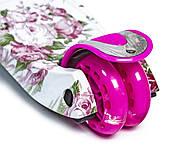 Детский самокат MAXI Flowers Roses Светящиеся малиновые колеса Гарантия качества Быстрая доставка, фото 4