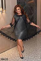 Нарядное блестящее платье из люрекса с кружевным декором с 50 по 60 размер, фото 1